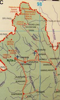 Mapa del norte de Birmania.