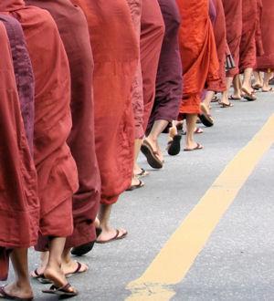 Monjes budistas en Rangún.