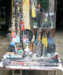 Mercado. Palos de golf en Rangún