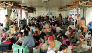 Cubierta del barco de Bhamo a Katha