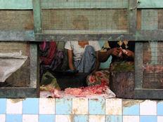 Carnicería em mercado de Nyaung U