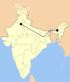 De Guwahati a Delhi 1959 Km.
